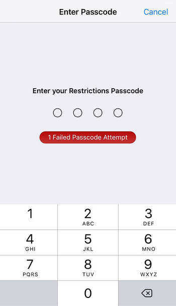wrong restriction password