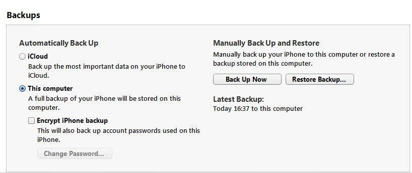 back up iPhone via iTunes