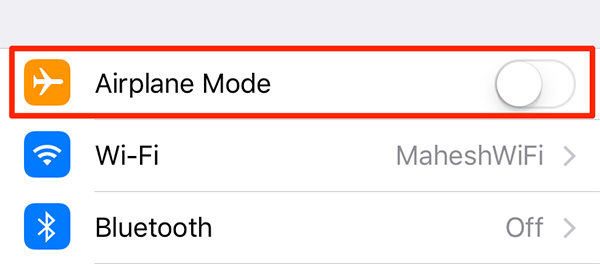 turn off airplane mode