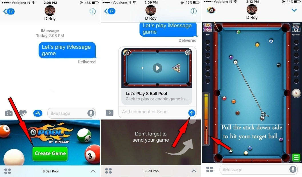how to play shuffleboard on imessage games