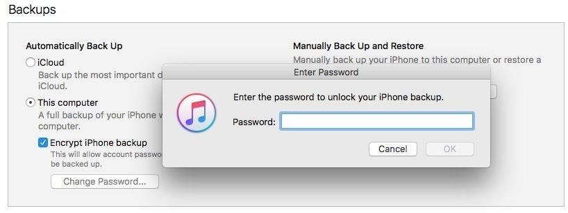 disable itunes backup password