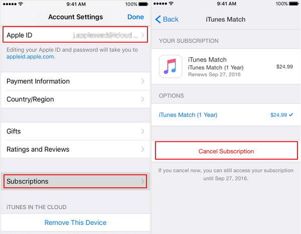 turn off itunes match on iphone