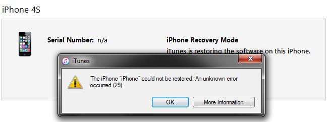 Error updating iphone 6