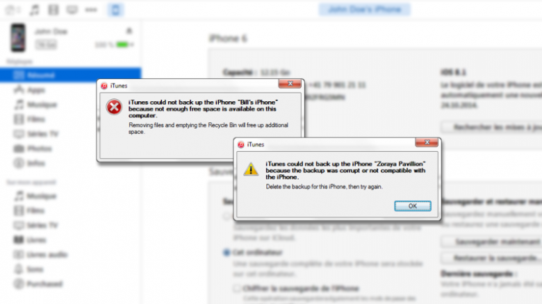 itunes can't backup iphone under Windows 10