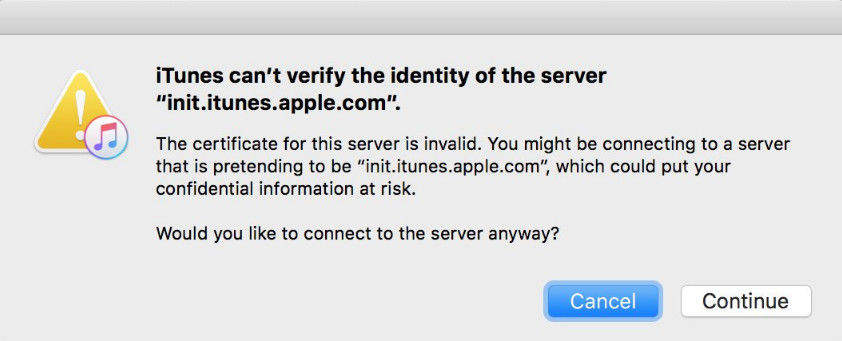 itunes can not verify the identity of the server