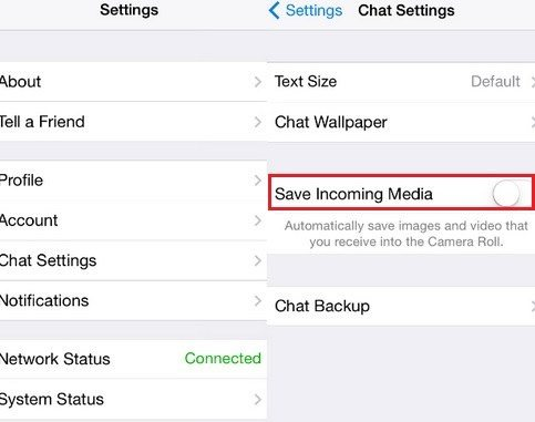 stop auto downloading whatsapp