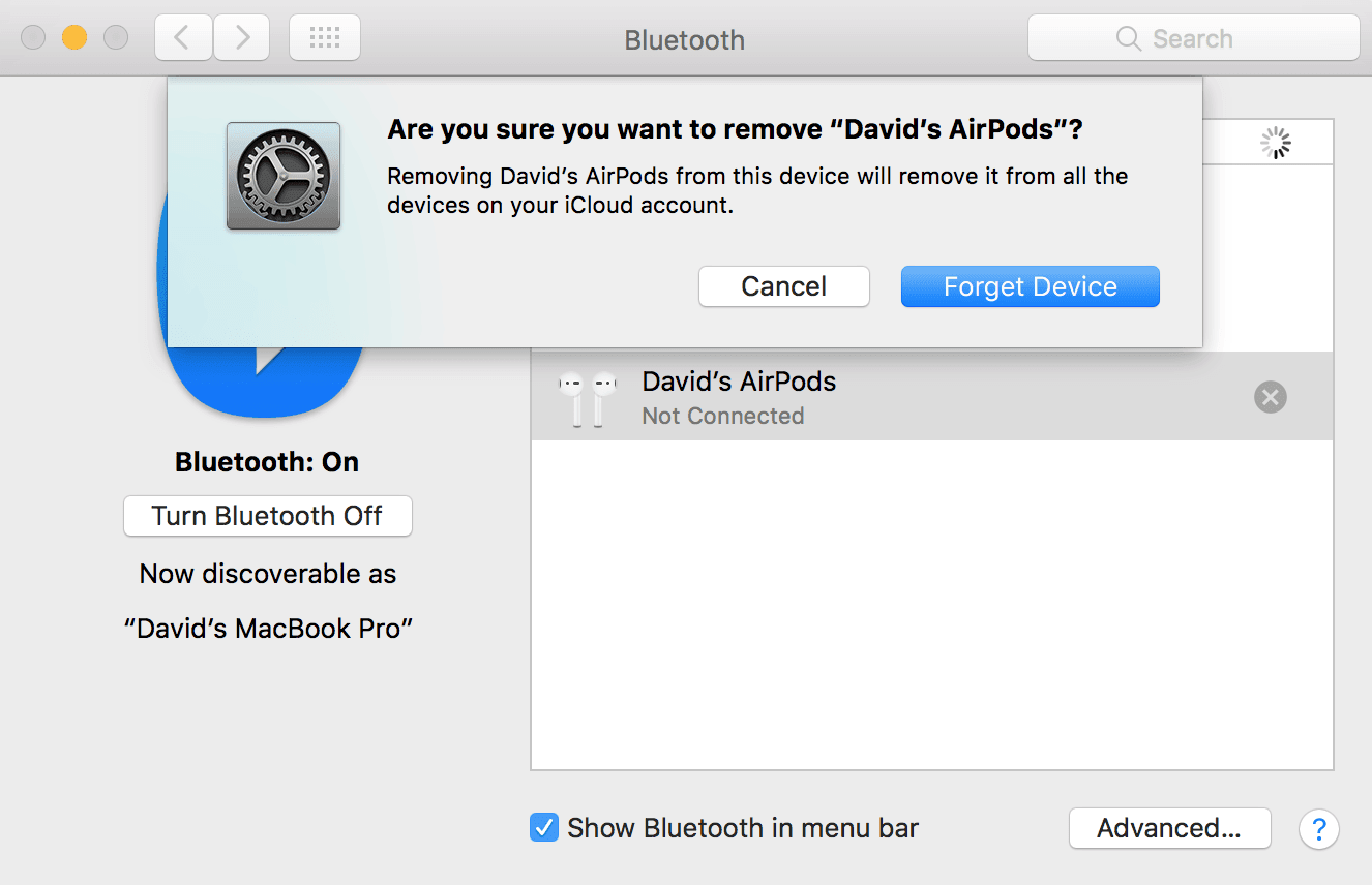 forget your AirPods as a Bluetooth device on Mac