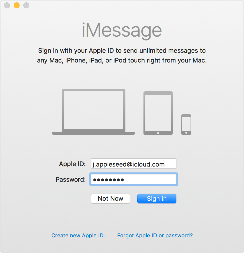 macos sierra iMessage sign in