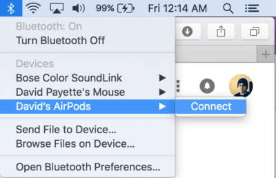 connect AirPods to Mac manually