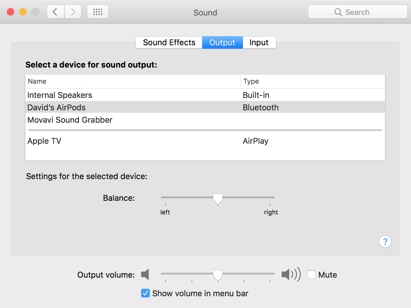 select AirPods as the output device