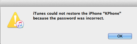iTunes could not restore iPhone