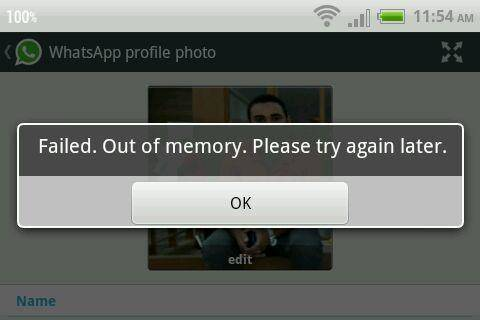 the error out of memory message
