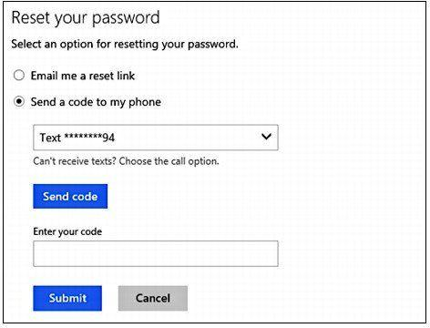 how to reset microsoft account password